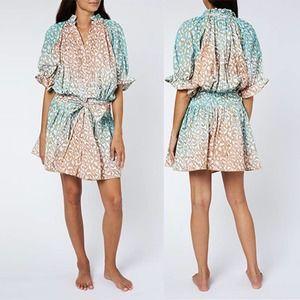 Juliet Dunn Snow Leopard Blouson Dress Size 1